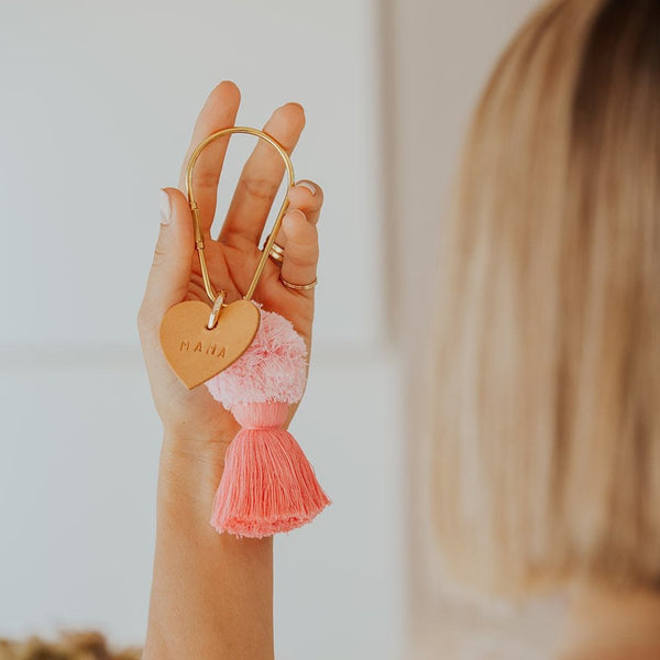 Pink and Leather Mama Keyring
