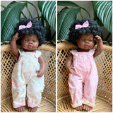Medium doll reversible overalls
