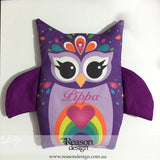 Personalised purple owl heat pack