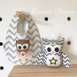 Grey chevron owl bib and rattle
