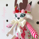 Christmas Reindeer Fox pink/blue