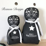 Black Sugar Skull Babushka Doll Brother Set Of 2