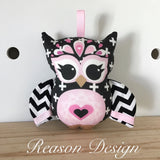 Black chevron cross owl rattle