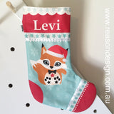 Personalised orange fox Christmas stocking