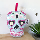 Blue sugar skull rattle
