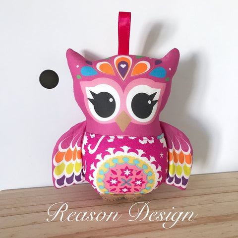 Hot pink mandala owl rattle