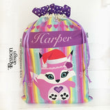 Rainbow pink fox santa sack