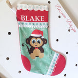 Personalised Christmas Stocking fox/owl/monkey/fawn