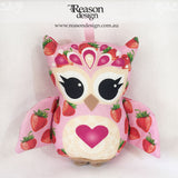 Pink strawberry girl owl rattle