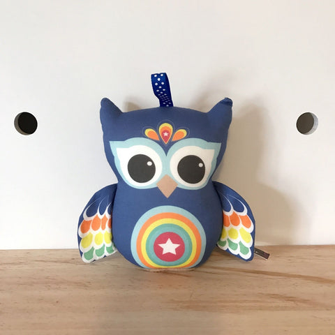 Navy blue owl rattle baby