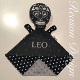 Personalised black sugar skull snuggle security blanket with soft minky