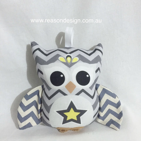 Grey chevron owl rattle