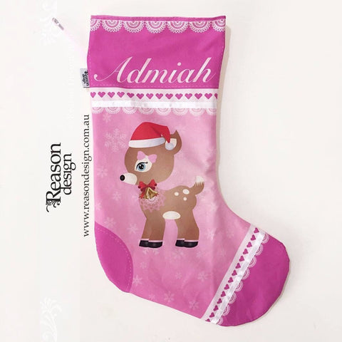 Personalised pink fawn Christmas stocking