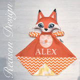 Personalised orange chevron snuggle buddy security blanket with soft minky