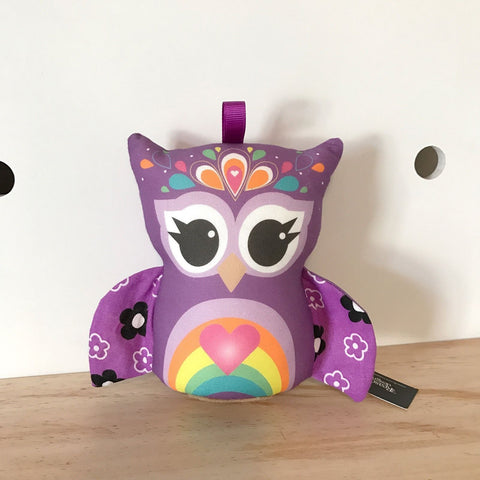 Purple rainbow owl rattle