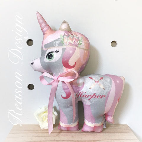 Boho Personalised Unicorn cushion/toy
