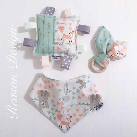 Gender Neutral Gift Set: Bib, Teether & Taggy