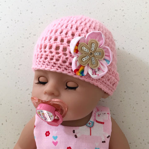 Doll hats - crochet beanies & fabric bonnets