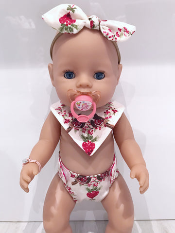 Large Doll Nappy & Bib 3pc Sets
