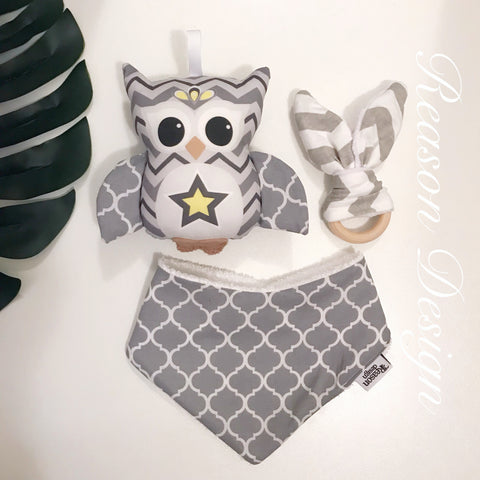 Grey Chevron OWL Gift Set Rattle & Bib