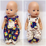 Large doll reversible overalls