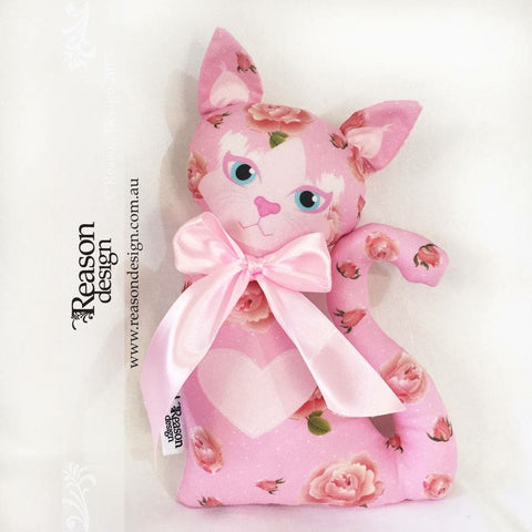 Pretty kitty cat soft toy Cushion pink roses