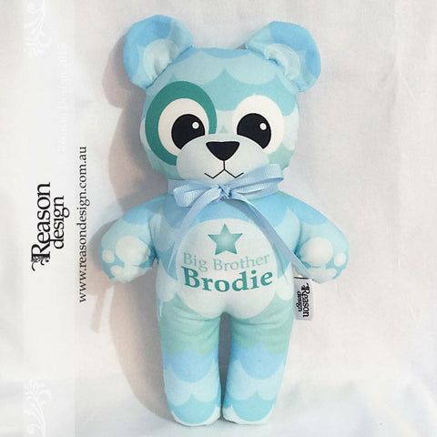 Personalised blue scallop boys teddy softie plushie