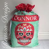 Personalised red sugar skull santa sack