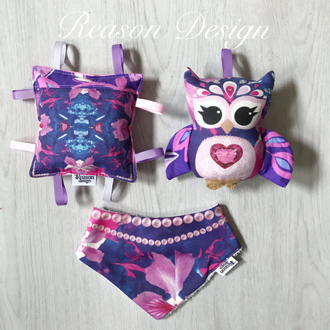 Purple owl Rattle set