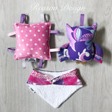 'Grace' purple OWL Gift Set Rattle, bib & taggy