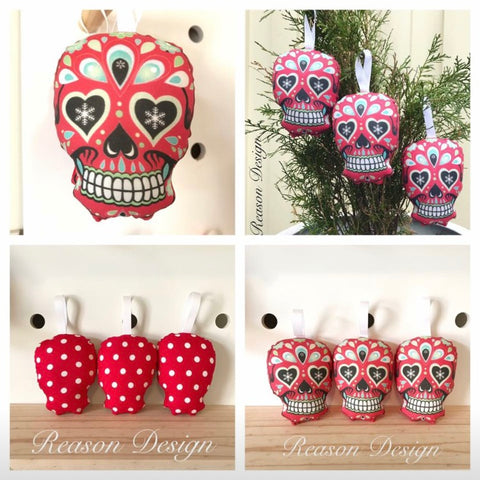 Mini red sugar skull decorations