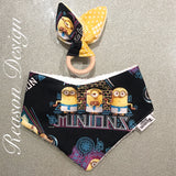 Minions bandana bib & wooden ring teether set