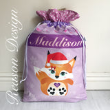 Personalised Christmas Santa Sacks owl/fox/monkey/fawn