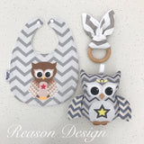 Grey chevron owl bib, teether and rattle