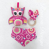 Pink mandala owl rattle, bib and wooden teething ring