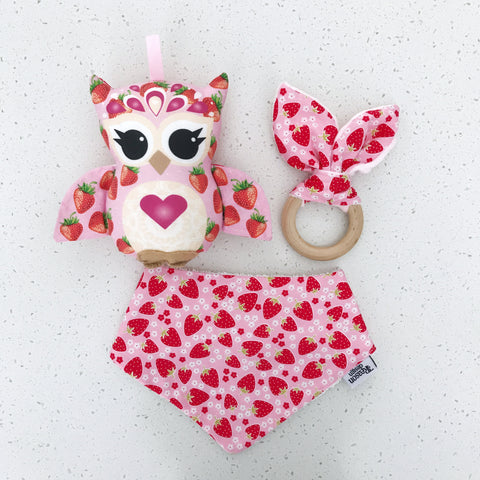 Pink strawberry owl rattle, bib & wooden teething ring