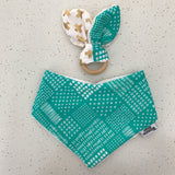 Teal green bandana and teether set