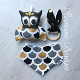 Neutral black & gold OWL Gift Set Rattle, bib & teether