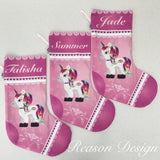 Pink unicorn Christmas stocking