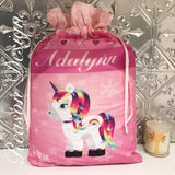 Personalised pink unicorn santa sack
