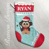 Personalised monkey Christmas stocking