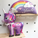 Personalised Bright Rainbow Cloud cushion 35cm