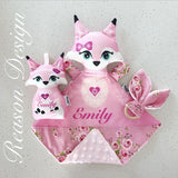 Pink fox snuggle security blanket , rattle and wooden teether