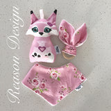 Pink fox Rattle, bib, teether set