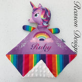 Personalised purple rainbow snuggle buddy security blanket with soft minky