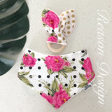 pink roses and polka dot baby bandana bib and wooden ring teether set