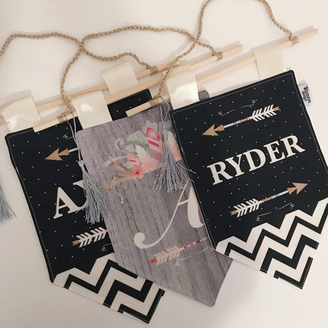 Boho/Aztec Personalised Banner/Pennant wall hanging