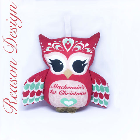 Personalised First Christmas Owl Rattle