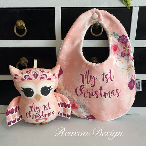Little Christmas owl & bib