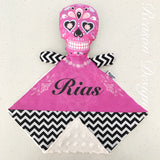 Personalised hot pink black white chevron snuggle buddy security blanket with soft minky